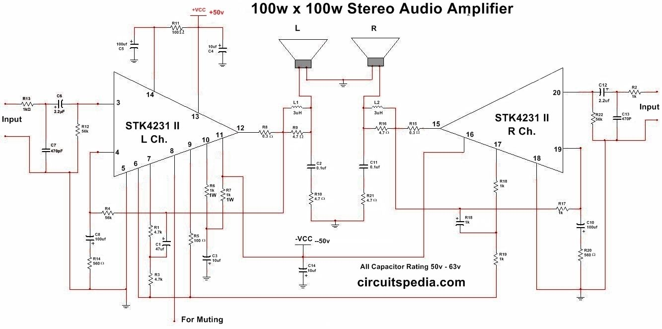STK4231 II 100W+100W Stereo Audio Amplifier Circuit