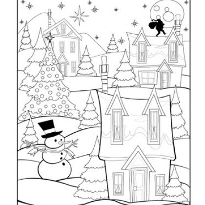 Christmas Village Coloring Pagea Fun Sheet For When The Kids Finish Their