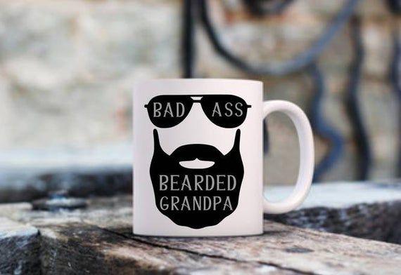 Bad Ass Bearded Grandpa Beer Mug, Bad Ass Grandpa Beer Mug, Grandpa Cup, Bad Ass Grandpa Gift, Bad A