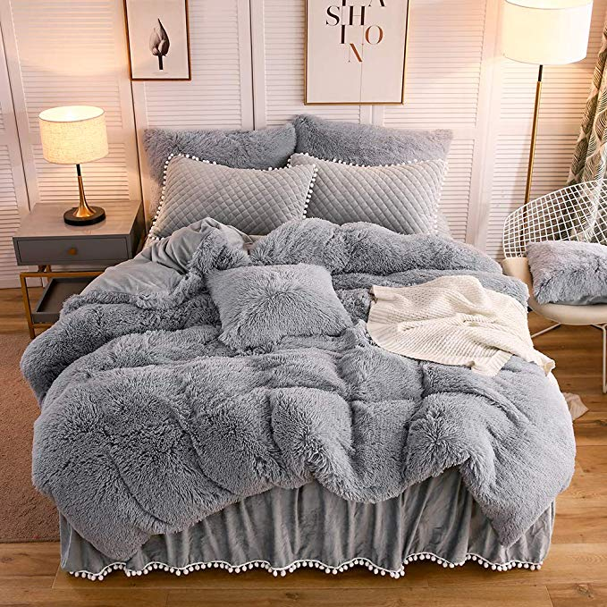 Amazon Com Liferevo Luxury Plush Shaggy Duvet Cover Set 1 Faux Fur Duvet Cover 1 Pompoms Fringe Pillo Gray Bed Set Room Inspiration Bedroom Cozy Room Decor
