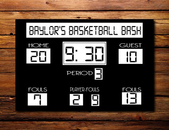 30x20 Basketall Scoreboard Canvas By Prints By By Printsbypaula 79 99 Basketball Party Basketball Theme Party Basketball Theme Birthday