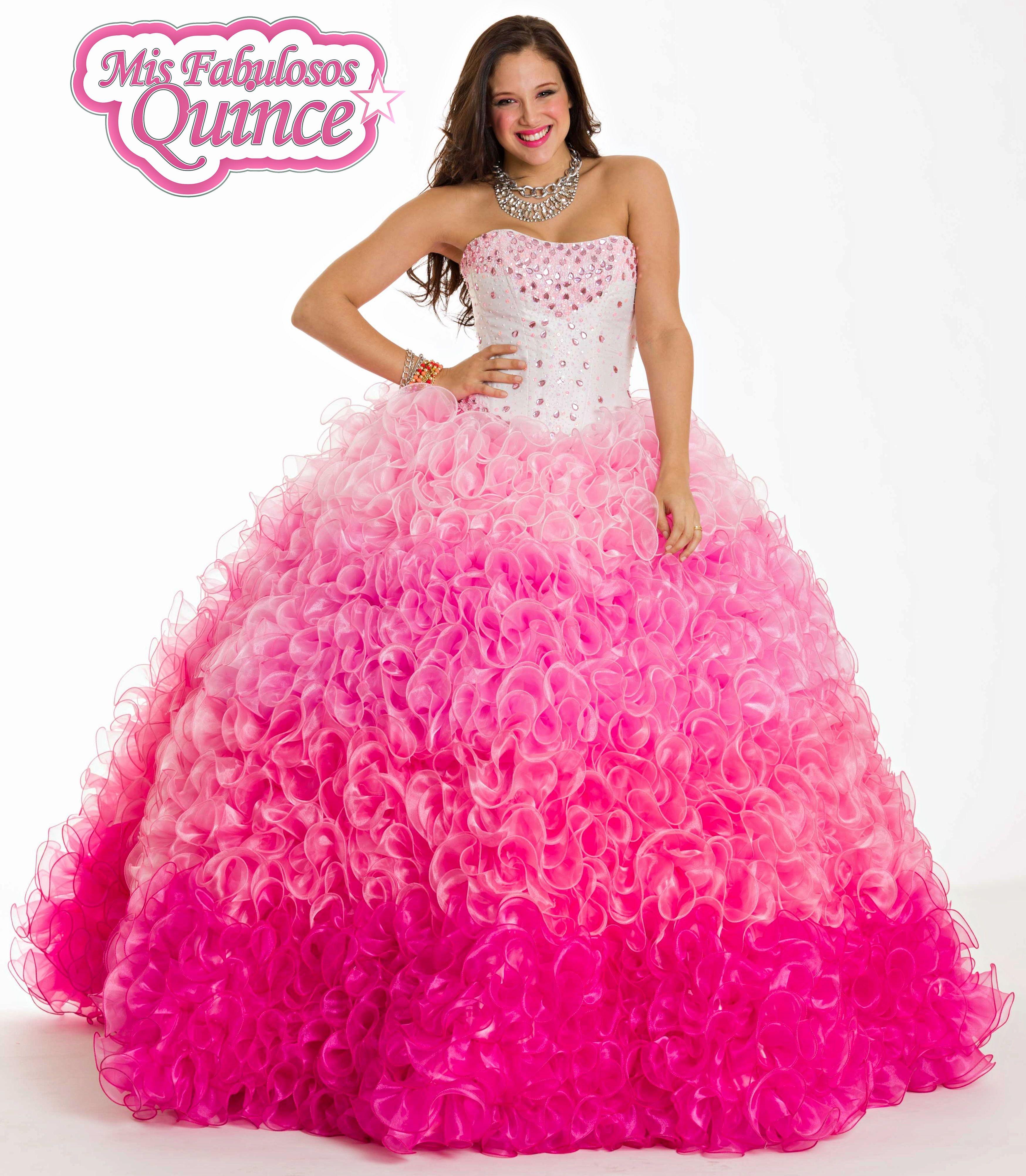 Increible vestido de 15 en degrade en tonos rosas | Mis Fabulosos ...