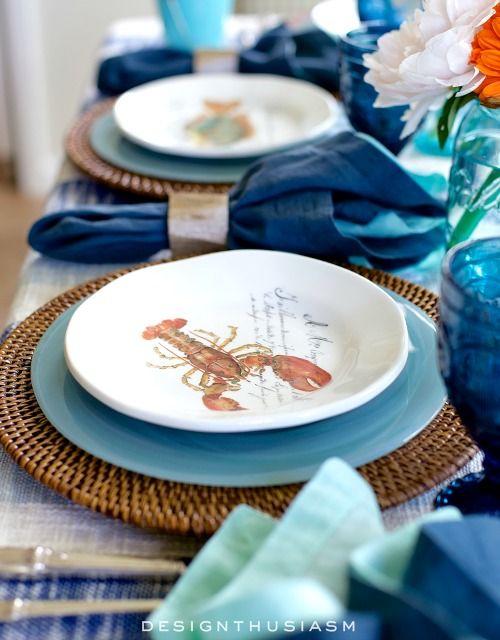 Nautical Table Decor with Blue Dishes \u0026 Sea Life Plates   Nautical table Blue dishes and Coastal & Nautical Table Decor with Blue Dishes \u0026 Sea Life Plates   Nautical ...