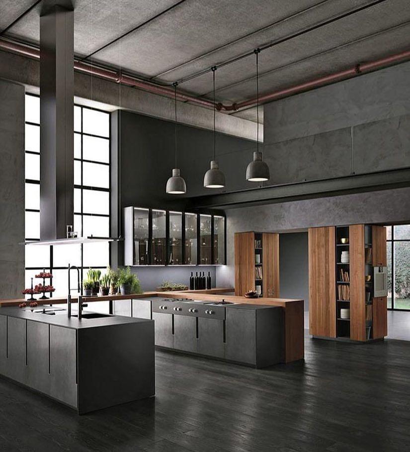 All Grey Industrial Kitchen Grey Kitchen Industrial Wood Huge Loft Design De Modern Kitchen Interiors Minimalism Interior Industrial Interior Design