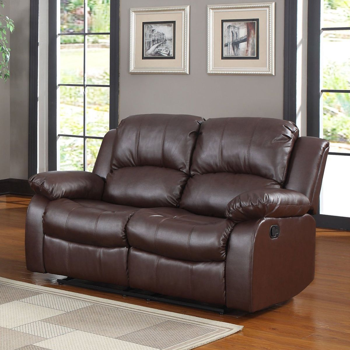 madison classic oversize and overstuffed 2 seat bonded leather double recliner loveseat black faux leather