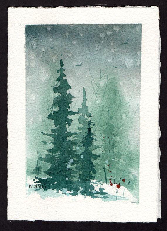 Beautiful Original Watercolor Christmas Card Christmas