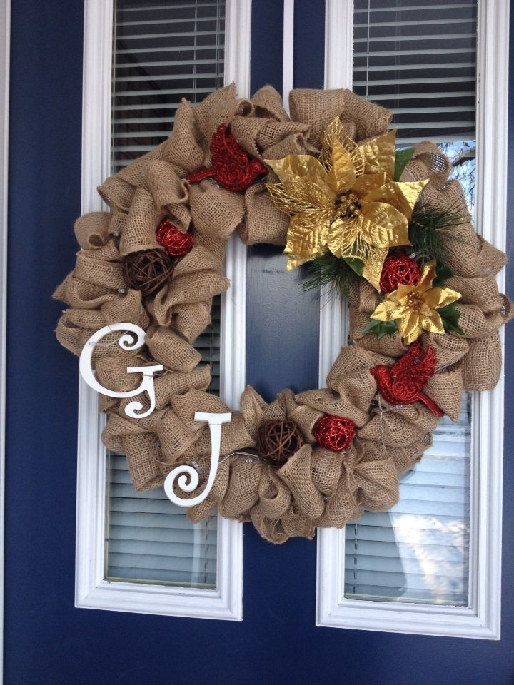 My first attempt at DIY Burlap Wreath! :)