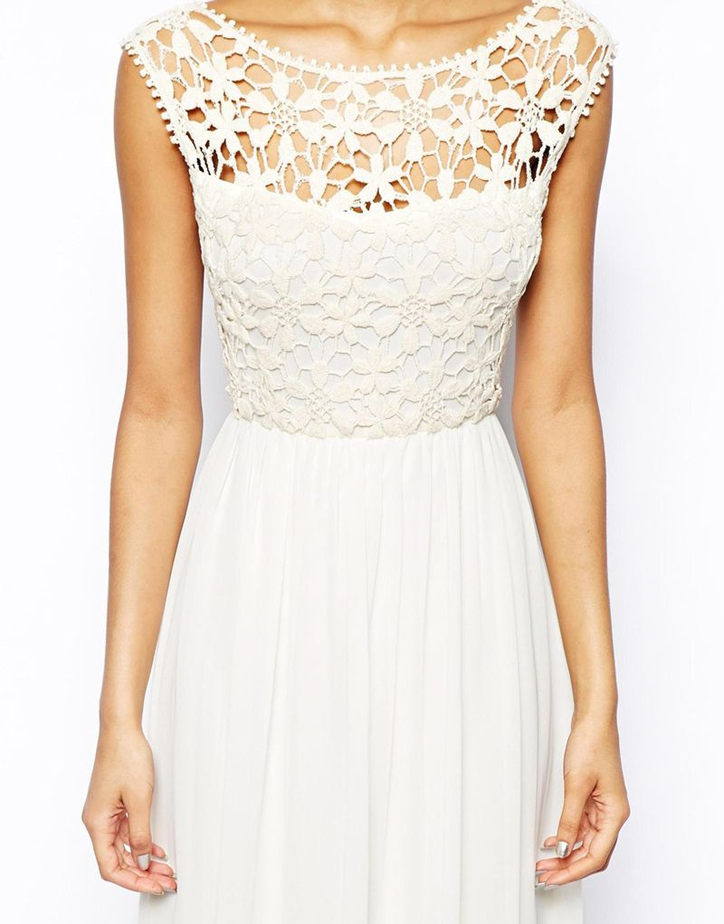 White sleeveless floral crochet lace maxi dress spring and summer