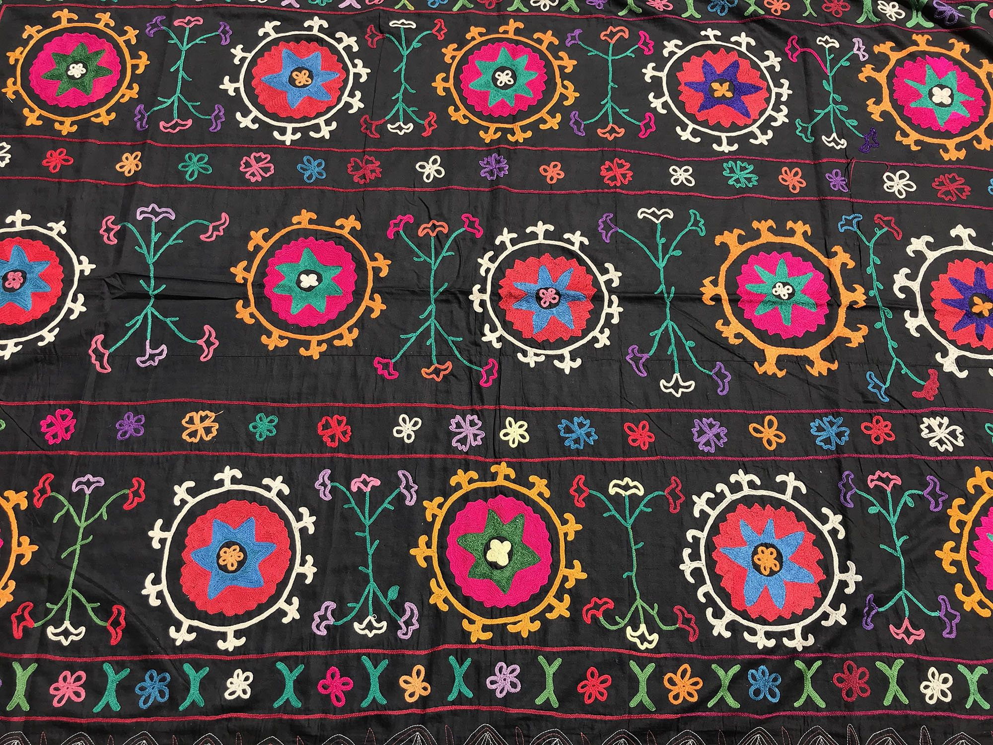 OLD CROCHET Black Suzani   Special Needlework   Handmade Boho Tablecloth    Suzani Wall HANGING   Colorful Suzani Fabric   Vintage Bedding By  Istanbulcarpet ...