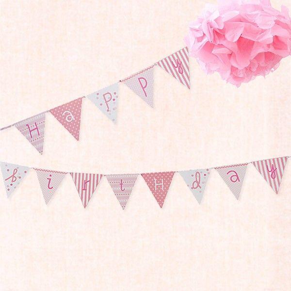 Guirnalda con banderines happy birthday en rosa para - Fiestas de cumpleanos para ninas ...
