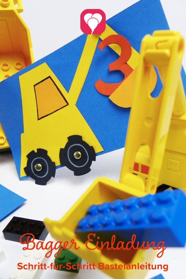 Mit Dieser Süßen Bagger Einladung Lädst Du Die Kleinen Bauarbeiter Passend  Für Die Nächste Kindergeburtstagsparty