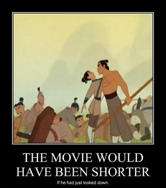 Image result for mulan meme all he had to do was look down