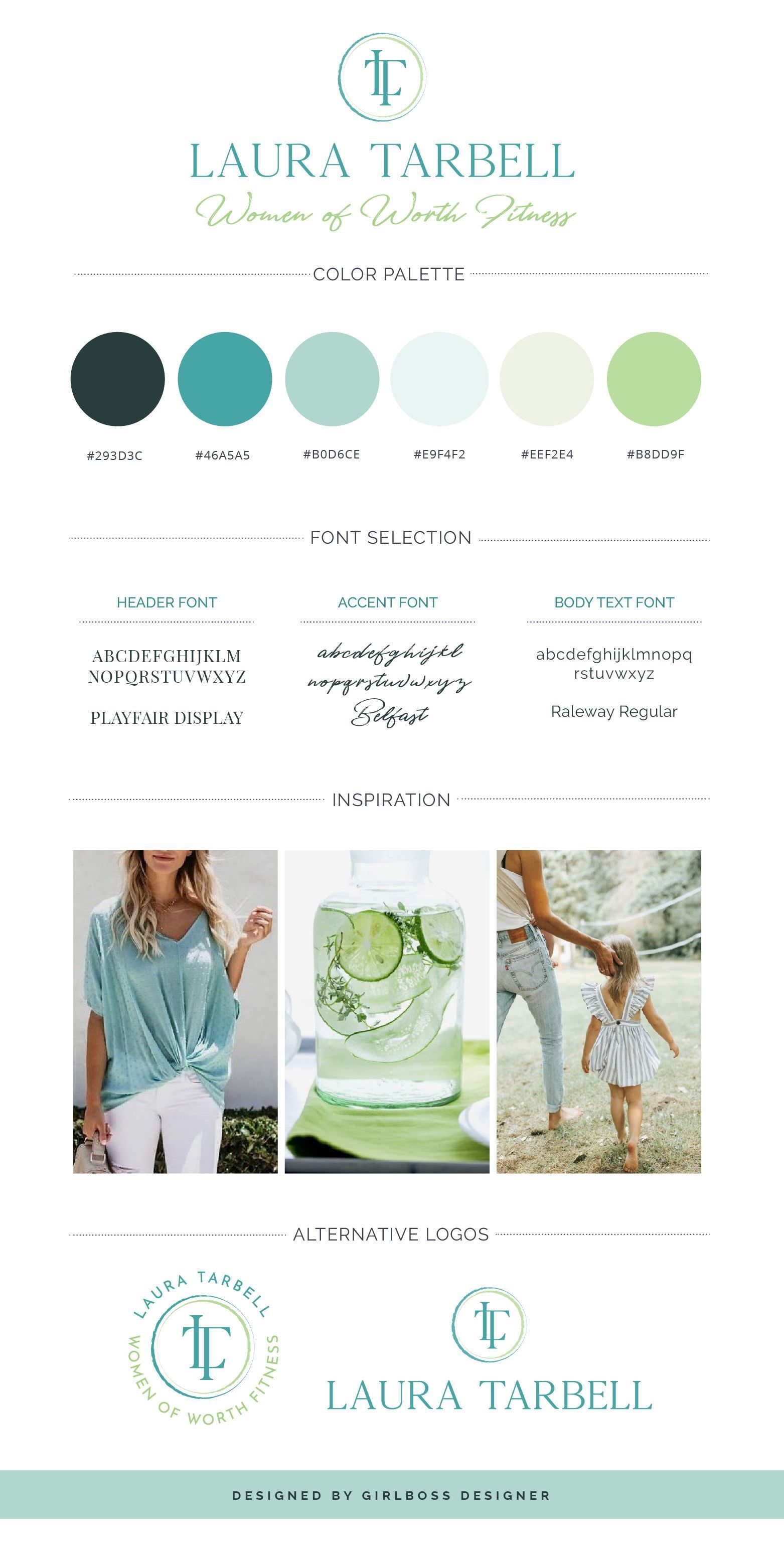 Turquoise and green branding for Health & Fitness Coach Laura Tarbell by Girlbos... - #branding #Coa...