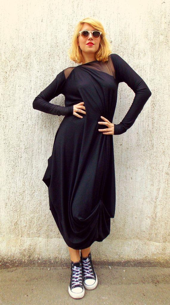 Black Mesh Insert Maxi Dress Plus Size Black Kaftan Tdk87 Black