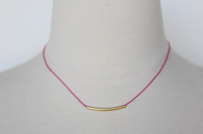 Little Bar Cord Necklace Fuchsia | Accessory Foundry