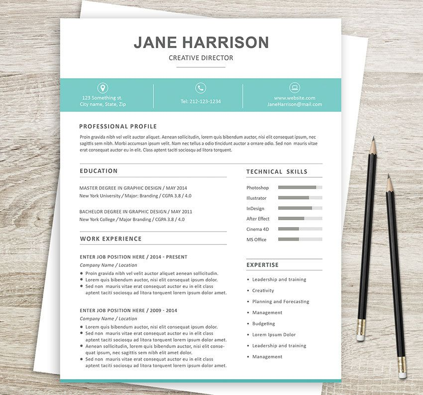 Resume template 4pk resume (+optional 2nd page), cover