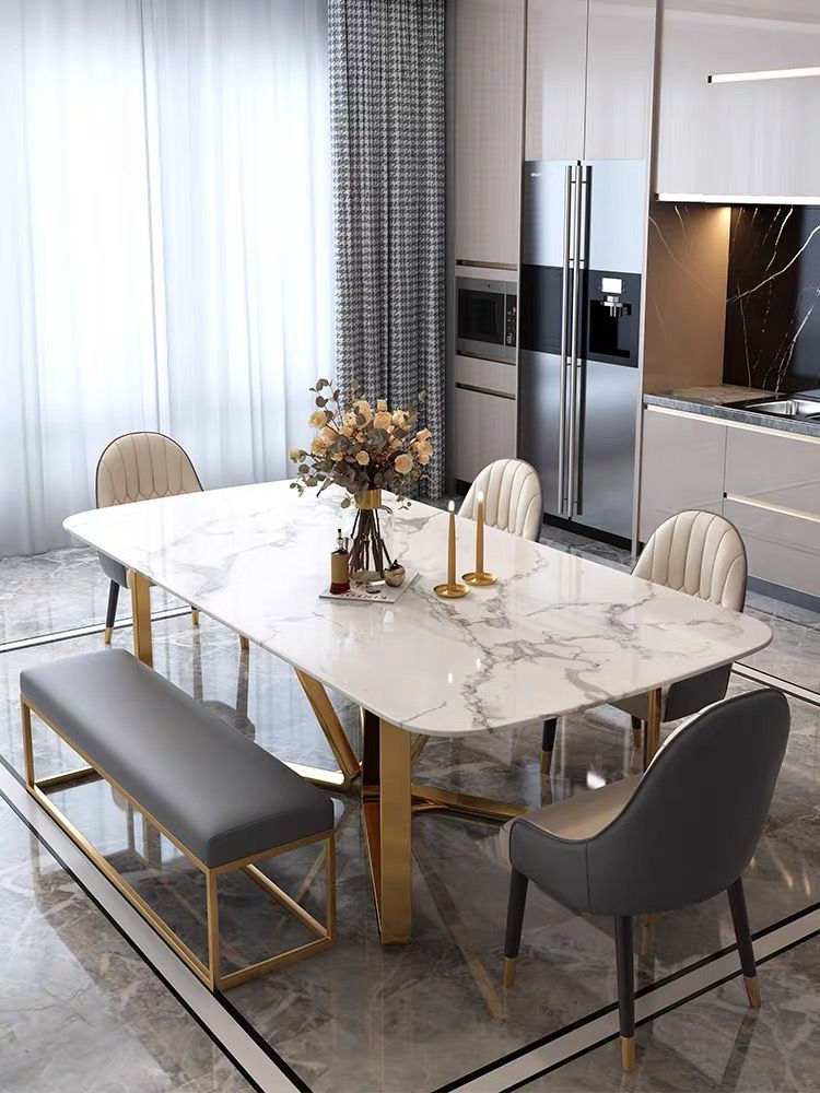 Pin By Maryam Zaki On Kitchen Setting In 2020 Dining Table Marble Dining Table Gold Faux Marble Dining Table