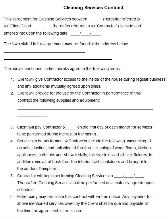 Contract for Janitorial Services Template Sample Cleaning Service