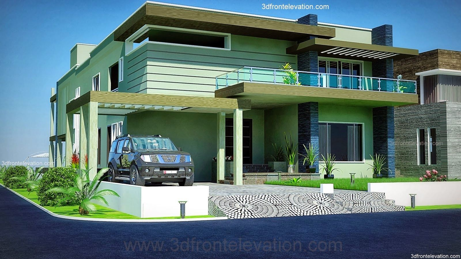 House design karachi - 2 2 Kanal Dha Karachi Modern Contemporary House Design With Swimming Plool 3d Front Elevation
