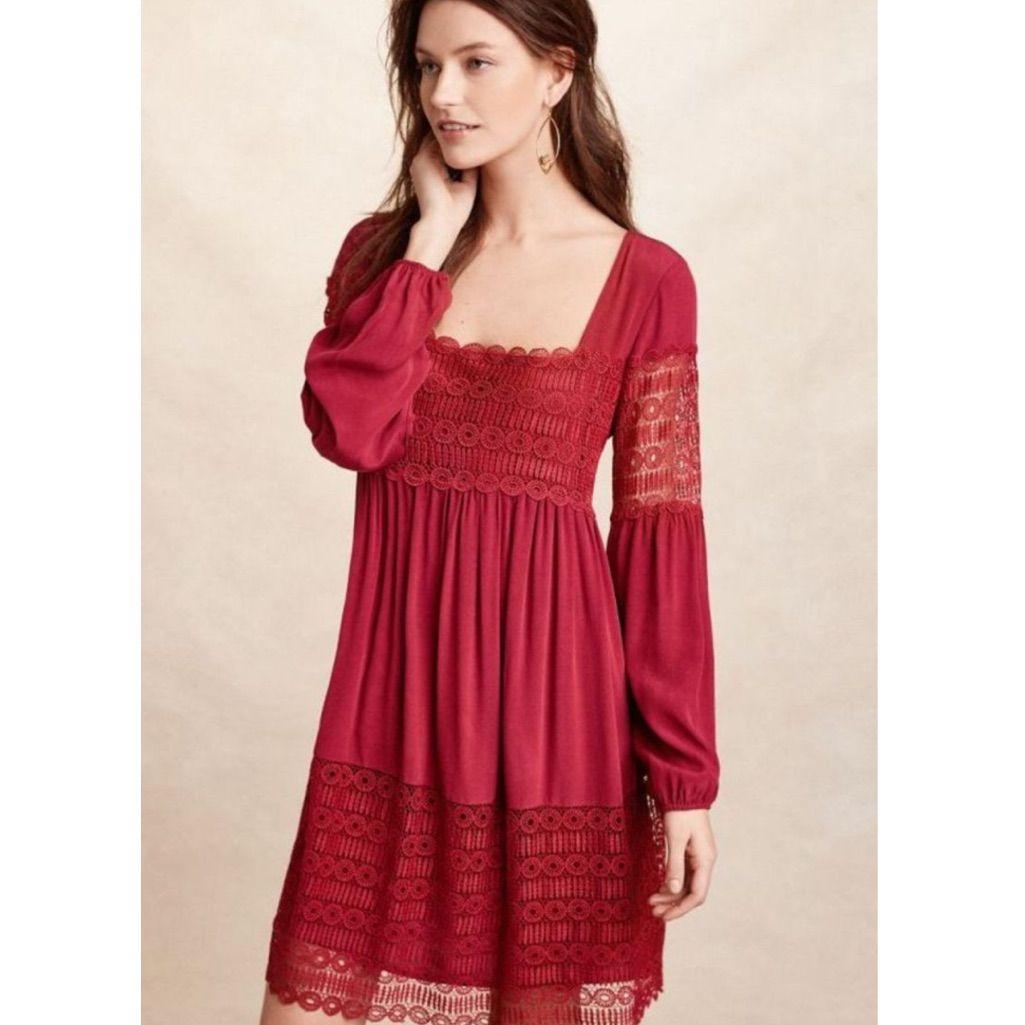 b81cc7299f0f Anthropologie Floreat Lace Dress Red Raspberry 6 15 Dresses