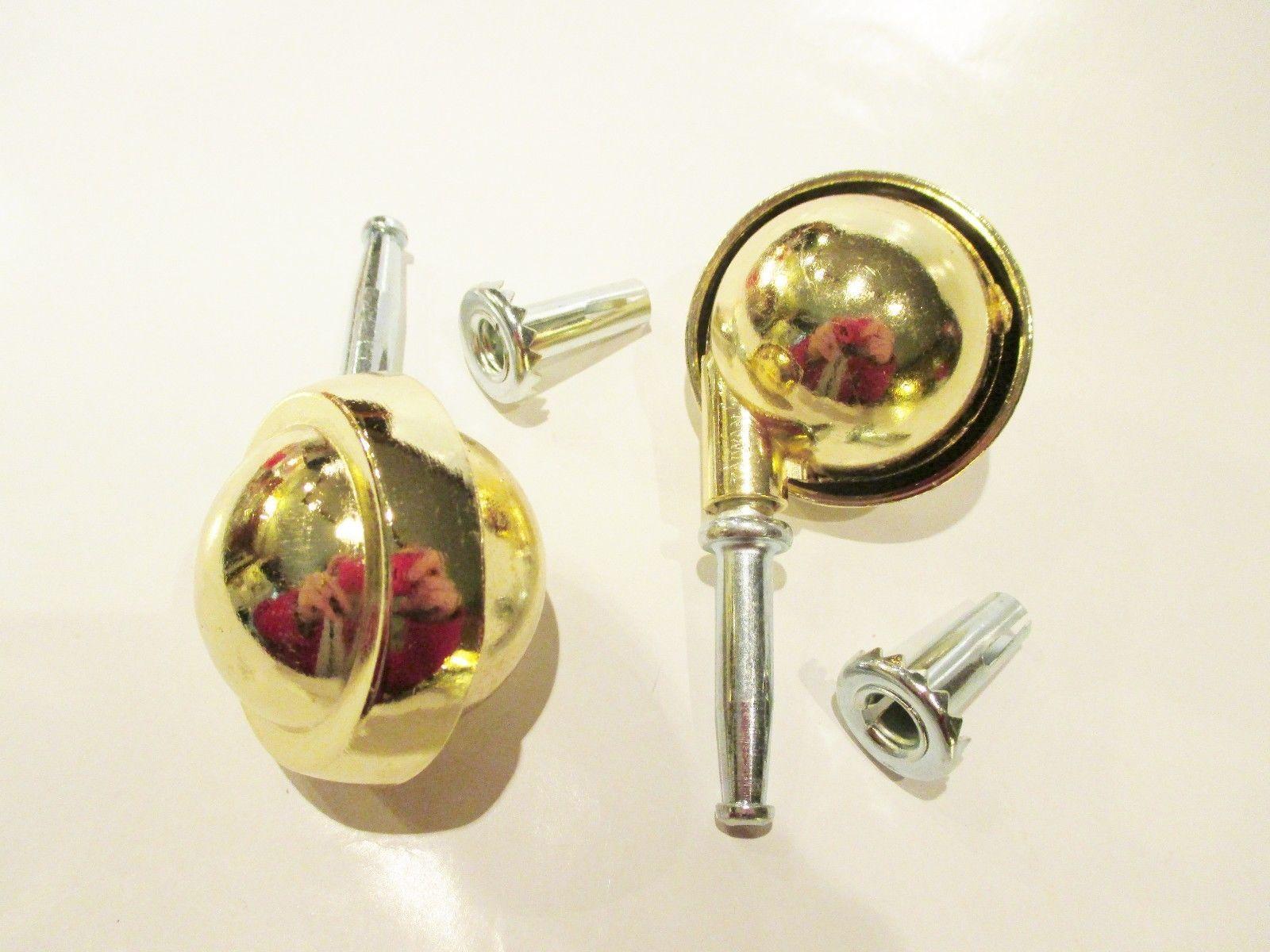 "Round Gold Metal Ball Caster 2 Pack 2"" Faultless Swivel Wheel"