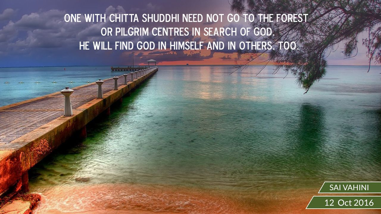 """One with chitta shuddhi need not go to the forest or pilgrim centres in  search of God. He will find God in himself and in others, too."""