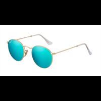 Óculos de Sol Masculino Ray Ban Round Metal Dourado Lentes Azul Espelhado  Polarizadas - RB34471124L 8697f46234