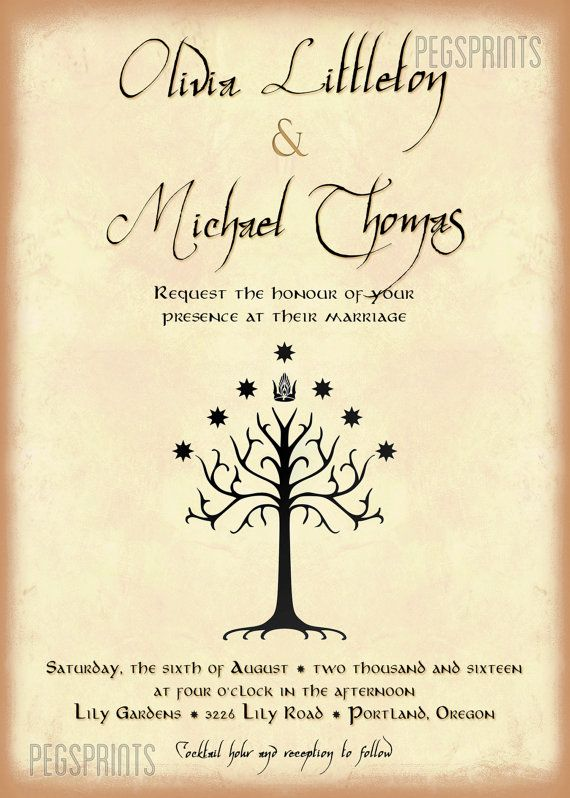 Geek Wedding Invitation Set Lord Of The Rings Wedding Invitation