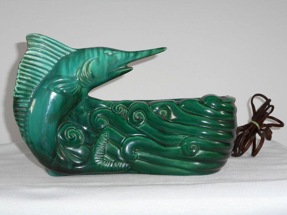 MID CENTURY RETRO GREEN TV LAMP & PLANTER MARLIN SAIL FISH - WORKING