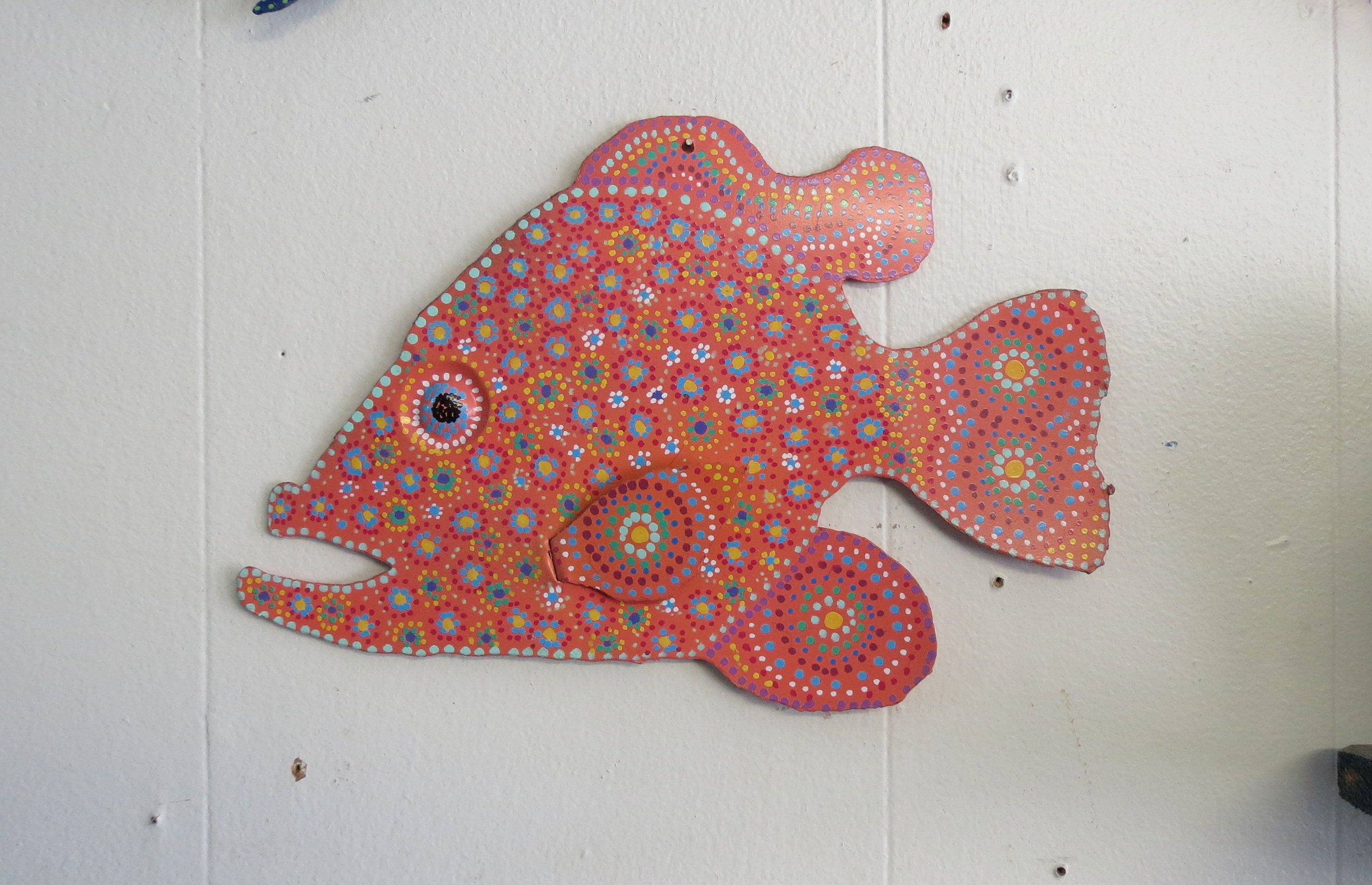 Fun whimsy metal painted fish wall or outdoor art decor