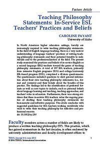 Teaching Philosophy Statements In Service Esl Teachers Practices And Beliefs Teaching Philosophy Statement Teaching Philosophy Esl Teachers