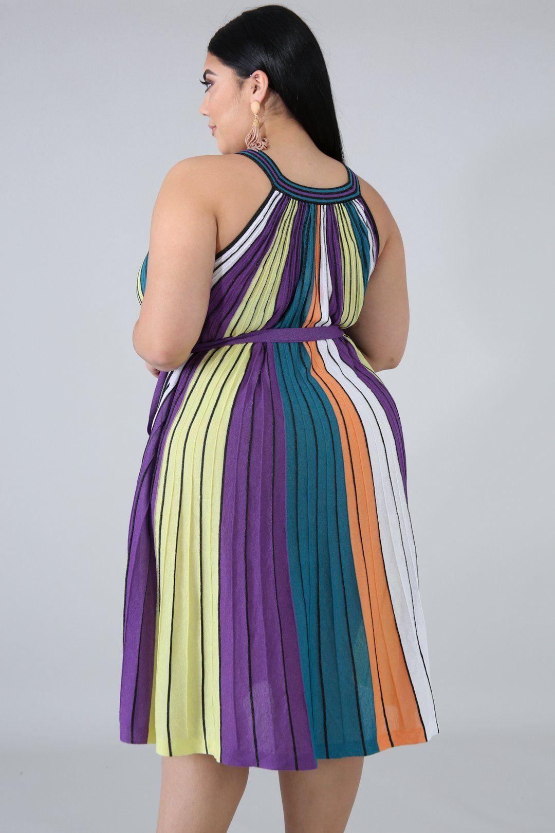 Metallic Stripe Maxi Dress Style 50743 Xdescriptionthis Rainbow Pleated Maxi Dress Features A Stretchy Fabr Plus Dresses Big Size Dress Striped Maxi Dresses [ 1620 x 1080 Pixel ]