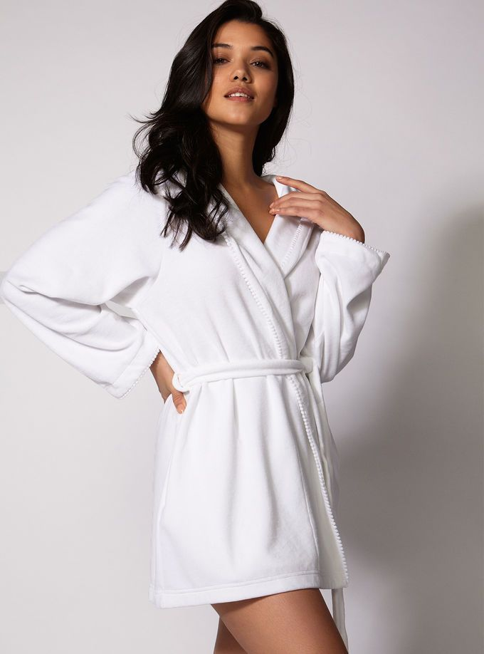Boux Avenue Toweling Pom Pom Robe In White 35 Cosy Loungewear