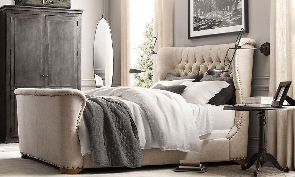 restoration hardware  bedroom arrangement white bedroom