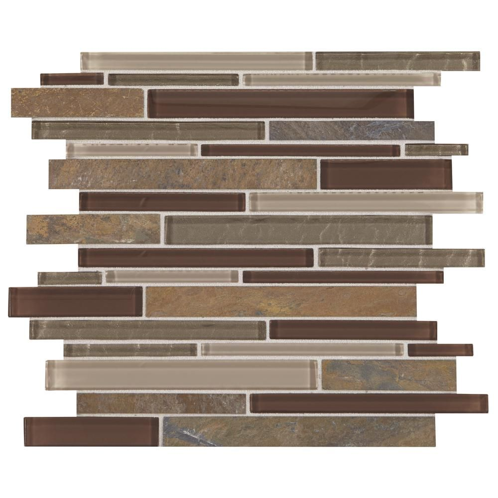 Daltile Stone Decor Rustic Slate 12 In X 14 In X 8 Mm Stone And Glass Random Linear Mosaic Wall Tile 0 95 Sq Ft Piece St26lnrndms1p The Home Depot Metal