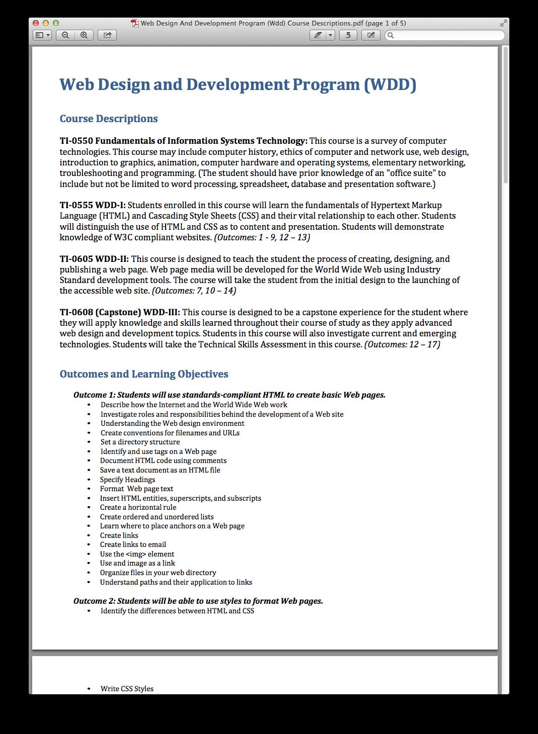 Web Design And Development Program Wdd Course Descriptions Pdf Png 1069 1460 Web Development Design Development Programs Web Design