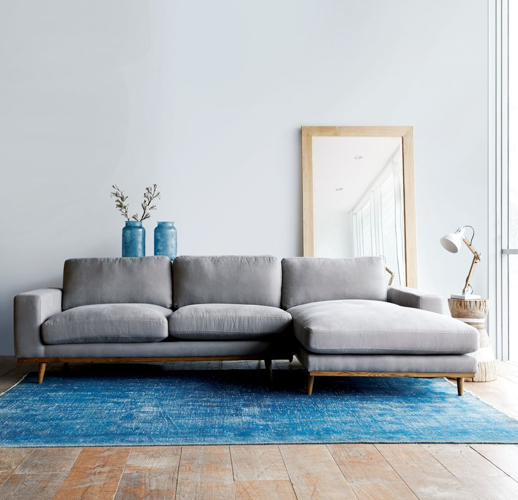 Check Out Our New Sofa The James L Shape Sofa Available In Slate Or Sky Colour Browse Our Sofa Collection Now Ori L Shaped Sofa Minimalist Sofa Fabric Sofa