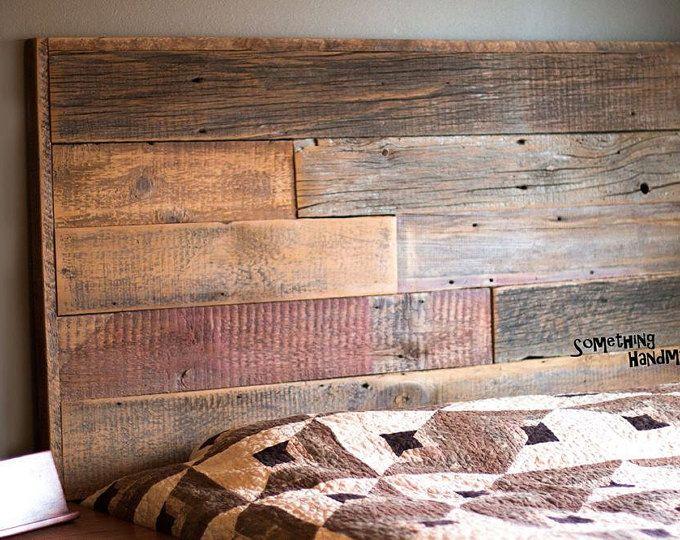 King OR Queen Headboard Reclaimed Barn Wood and Rusty Metal ...