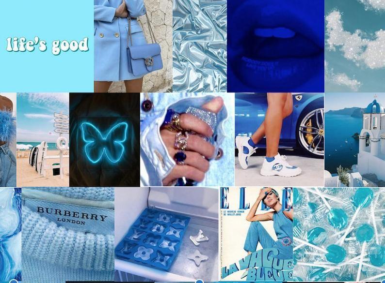 Light Blue Collage Aesthetic Desktop Wallpaper Laptop Wallpaper Cute Laptop Wallpaper