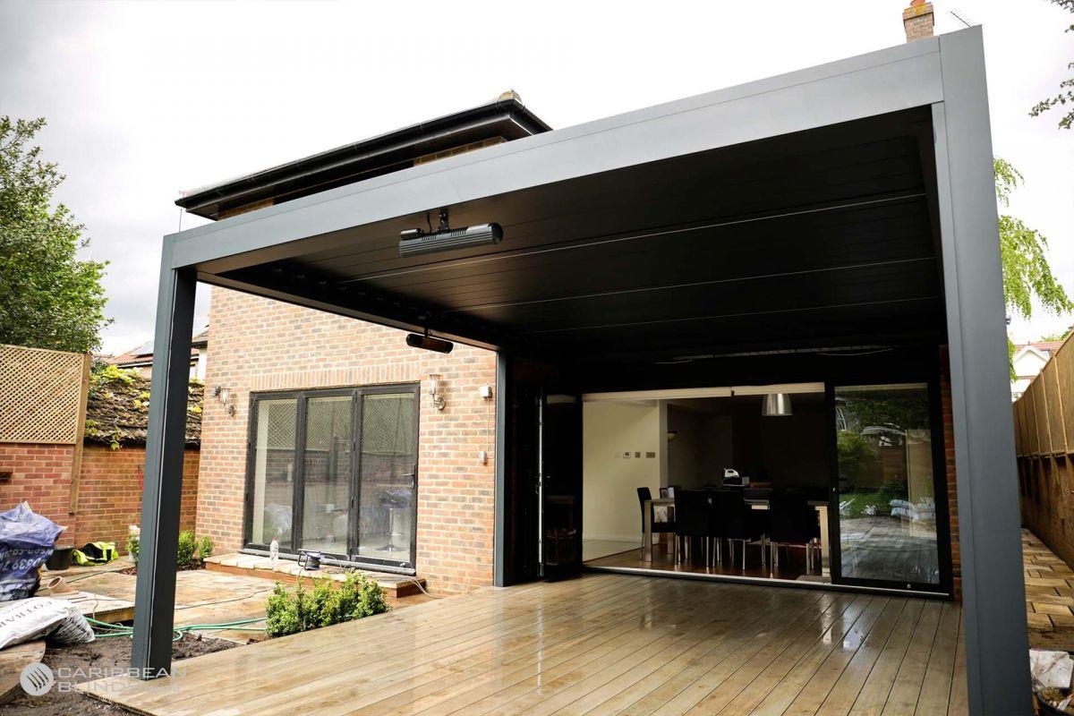 Aluminium Pergolas with Louvered Roofs Caribbean Blinds
