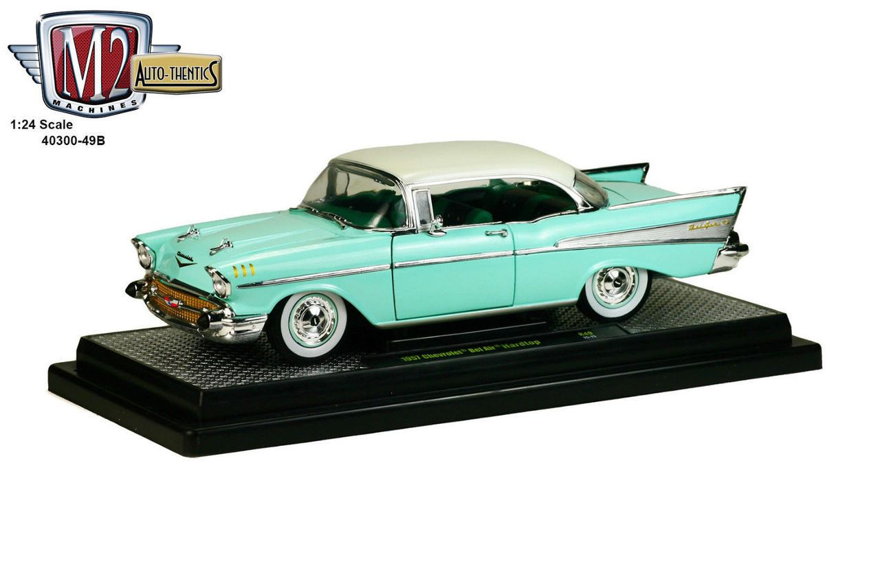 Diecast auto world m2 machines auto thentics 1 24 scale 1957 chevy bel air hard top diecast model 40300 49b