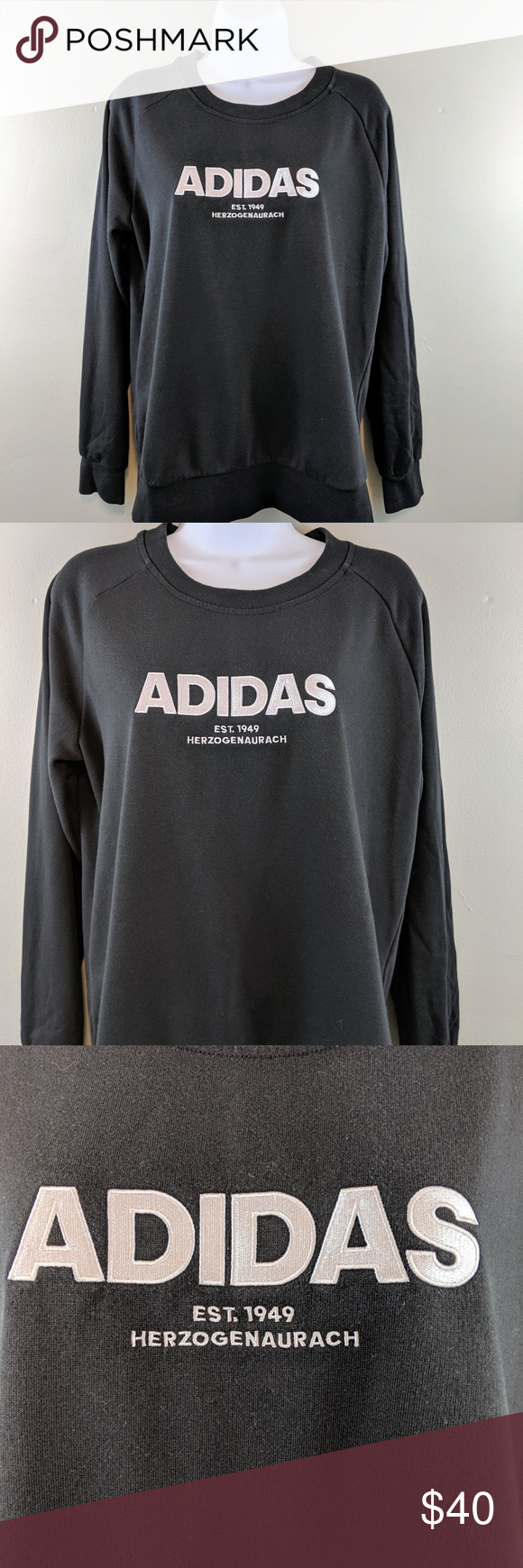 "Black Adidas Crewneck Sweater ""ADIDAS EST. 1949"
