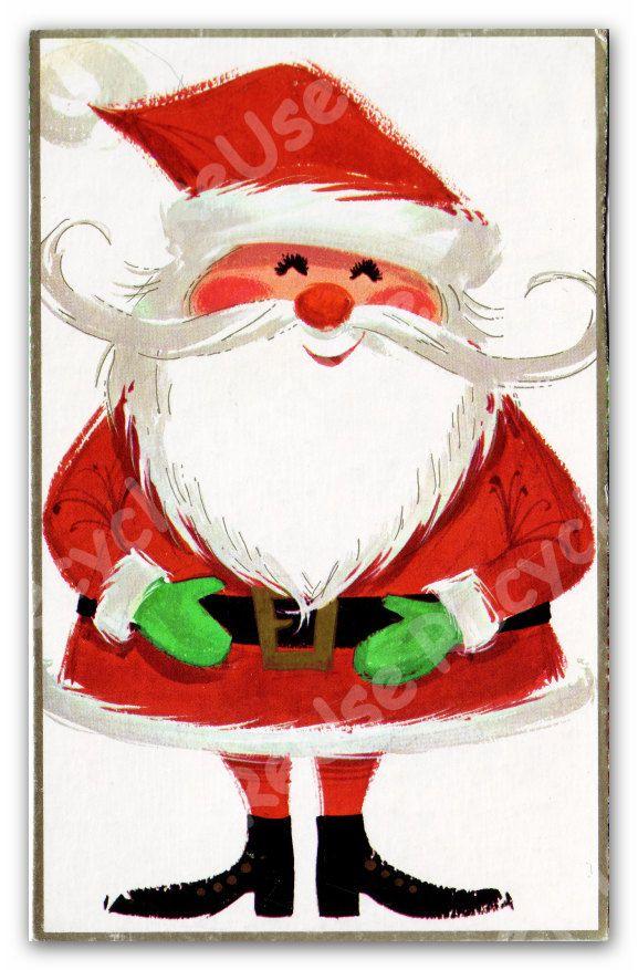 Vintage Christmas Card Santa 1970 Christmas Card By 641digital Christmas Paintings Vintage Christmas Cards Christmas Prints