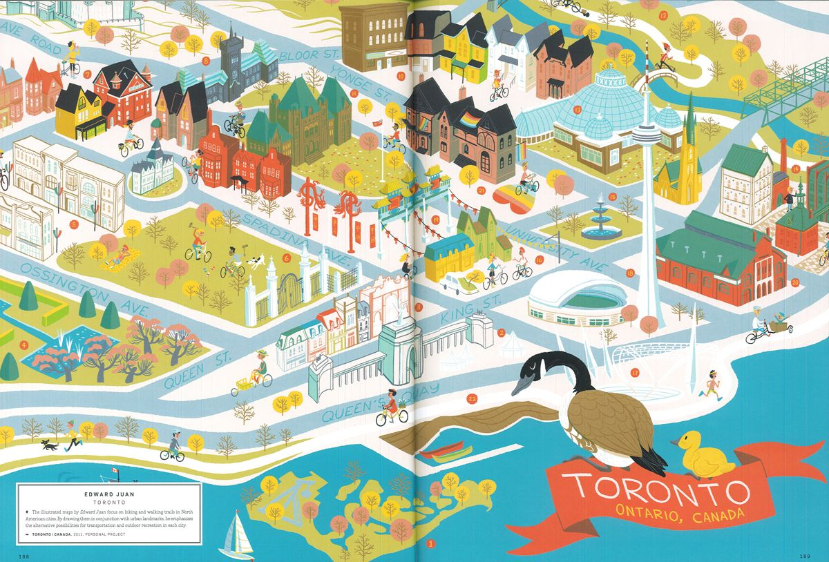 edward juan toronto map from a map of the world according to illustrators storyteller die. Black Bedroom Furniture Sets. Home Design Ideas