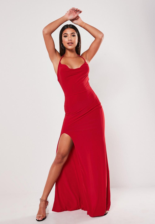 Red Slinky Cowl Neck Split Detail Maxi Dress Missguided Australia Ruched Maxi Dress Maxi Dress Blush Dresses