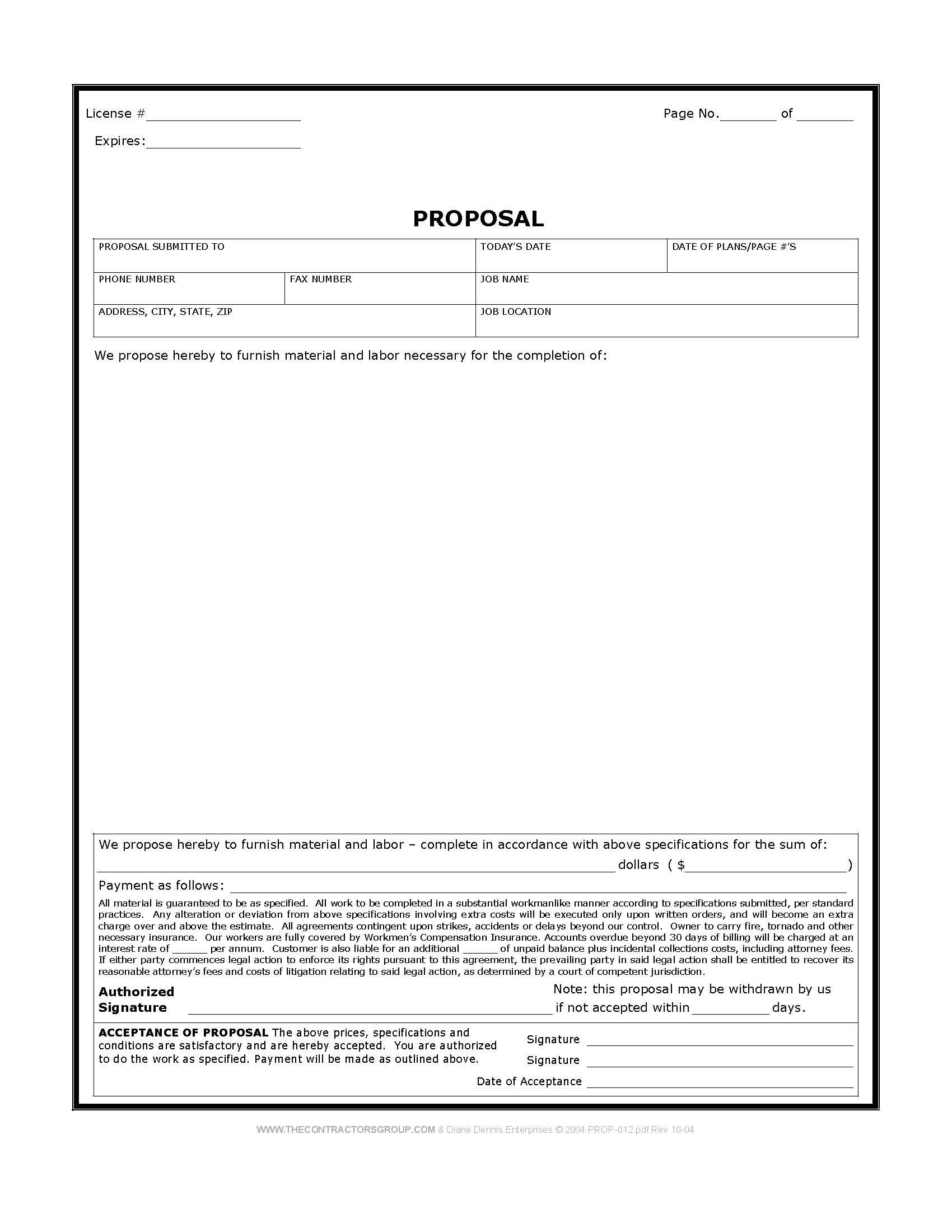 Free Print Contractor Proposal Forms | Construction Proposal Form   Bid  Form   Estimate Form Style