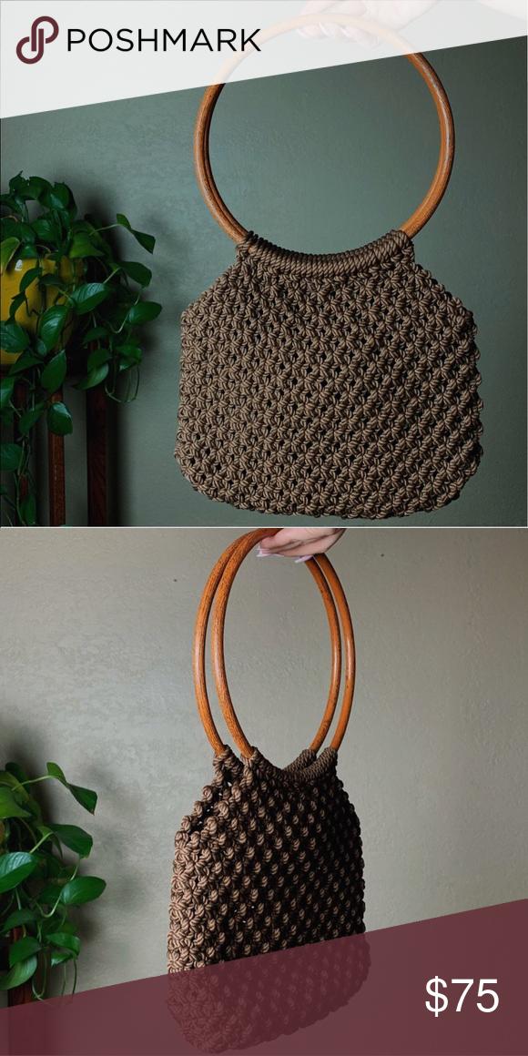 Round Wooden Crochet Purse Brown Crotchet Purse Bags Purses Handmade Crochet Vintage Brown