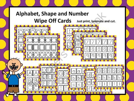 Alphabet, Number and Shape Wipe Off Cards from FunTeach on TeachersNotebook.com -  (32 pages)  - Fun Center Activity