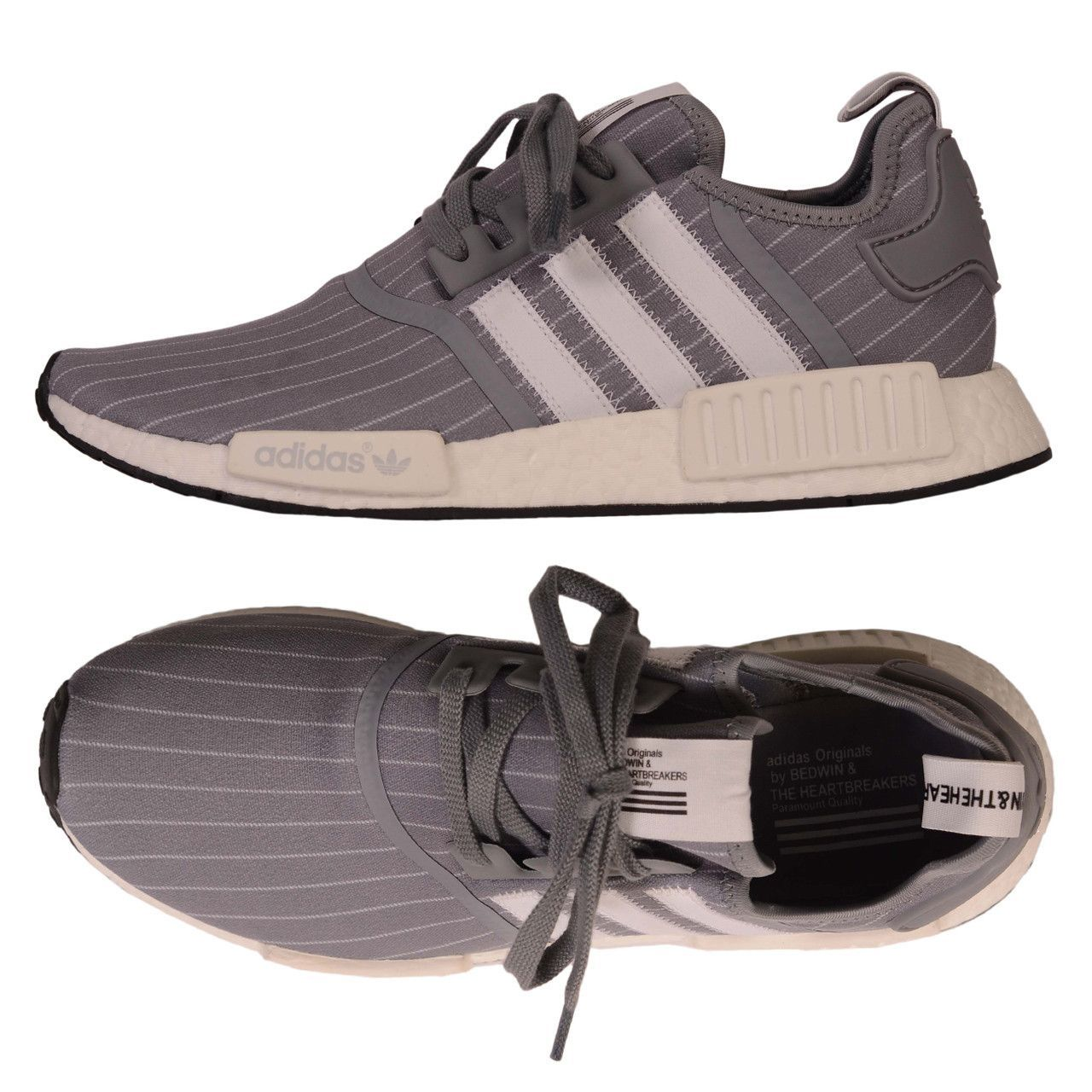 BEDWIN   THE HEARTBREAKERS X ADIDAS Gray NMD R1 Pinstripe Shoes NEW US 11 73d37962b779c