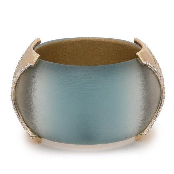 Alexis Bittar Large Dome Hinge Crystal Accent Bracelet Aquamarine ombre qWxwq7m